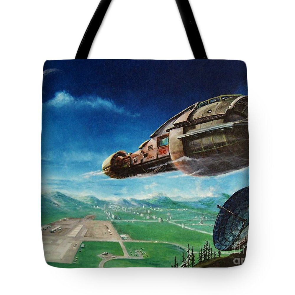 Landscape Tote Bag featuring the painting Did You Call by Murphy Elliott