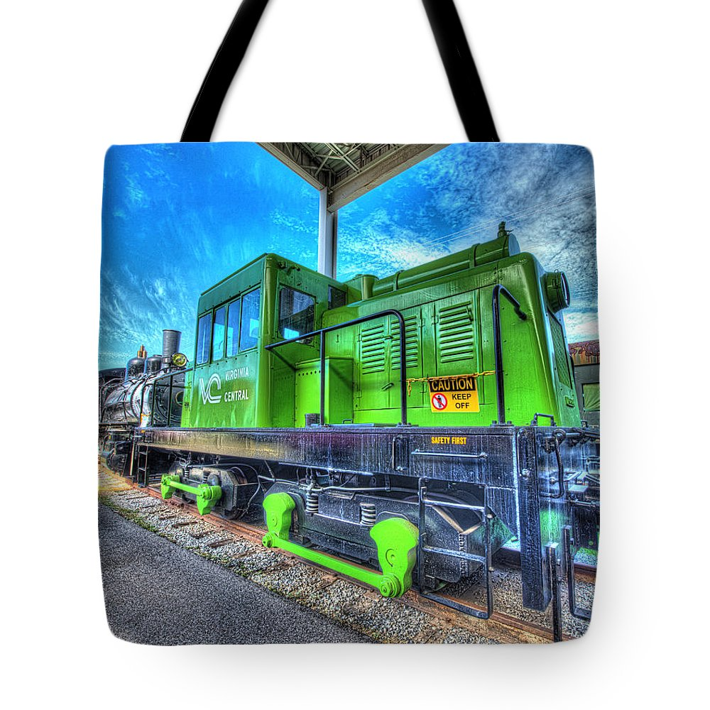 Historic Tote Bag featuring the photograph Diesel Locomotive Virginia Central Porter Rod Driven No 3 by Greg Hager