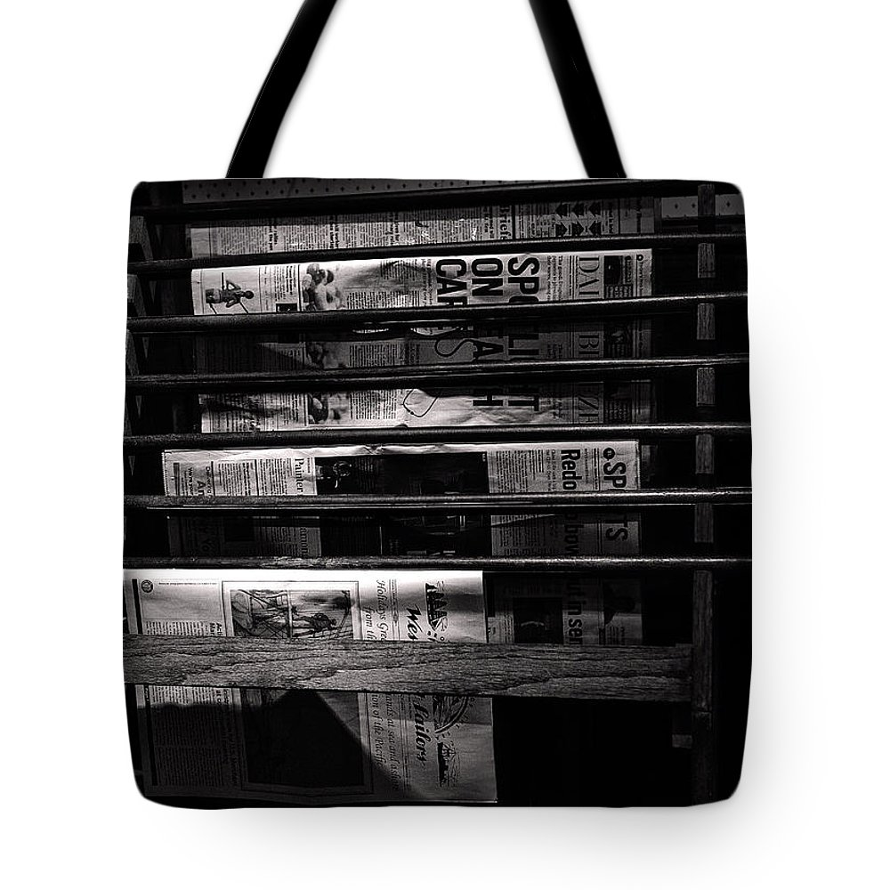 Newspaper Tote Bag featuring the photograph Digital Carnage by Denise Dube