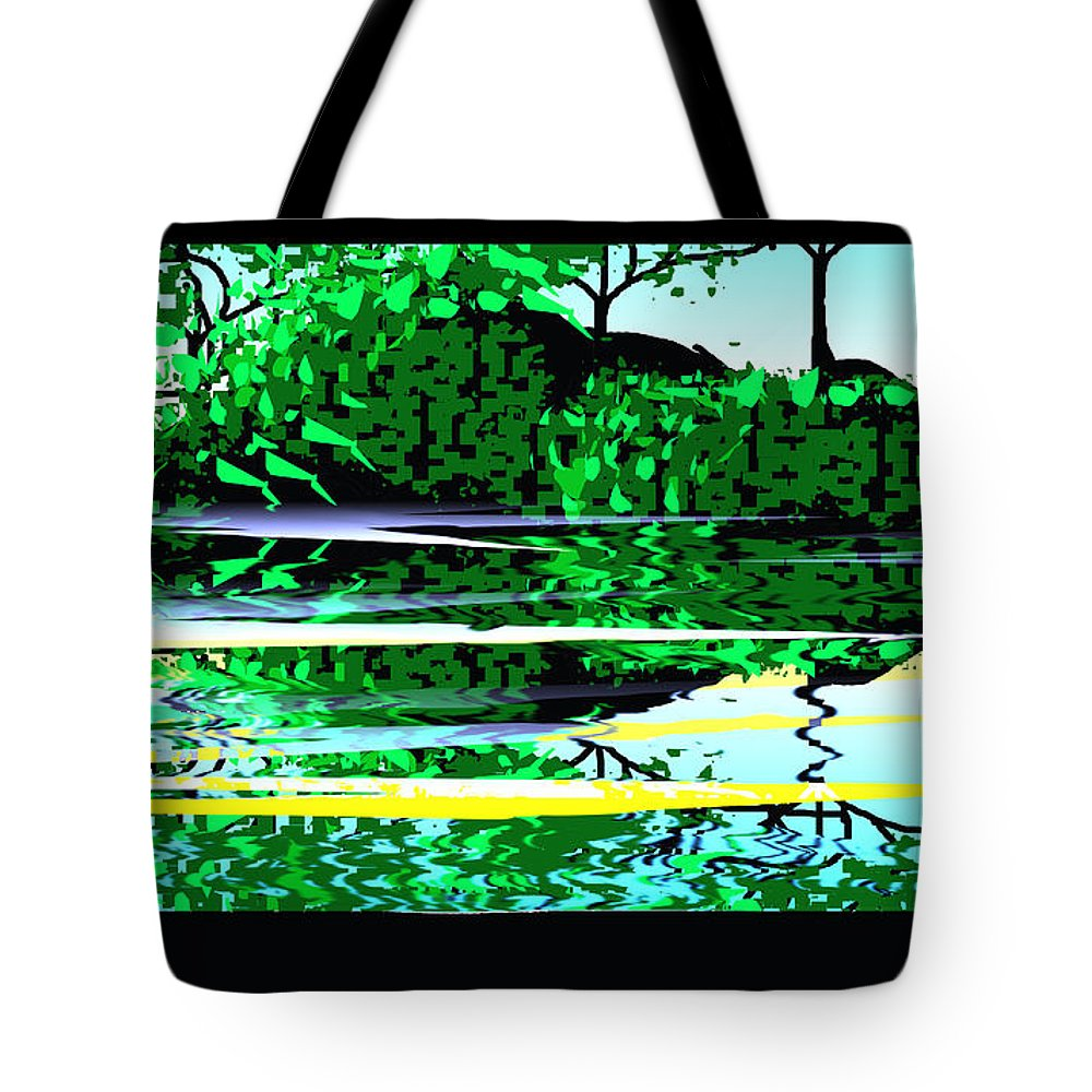 Digital Tote Bag featuring the digital art Digital Lake Water by XERXEESE Color Schemes