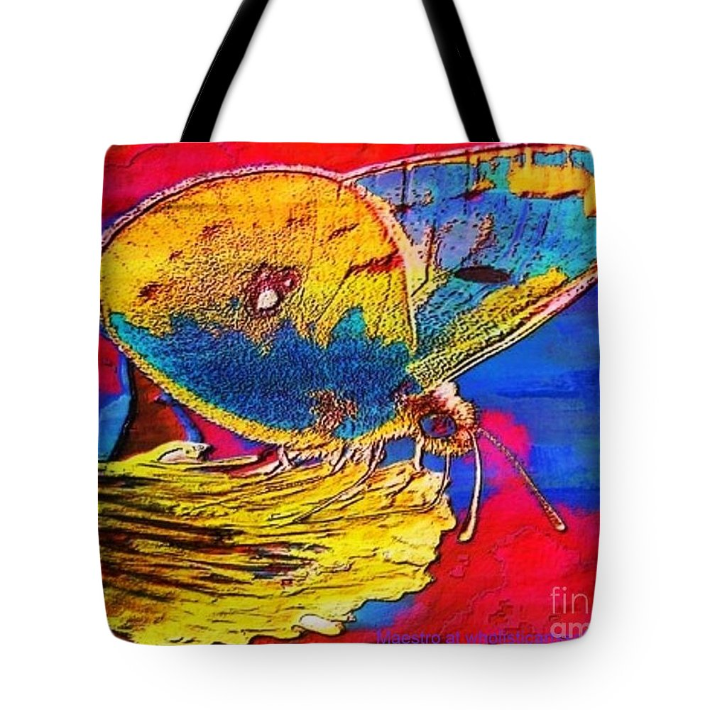 Digital Butterfly Tote Bag featuring the mixed media Digital Mixed Media Butterfly by PainterArtist FIN