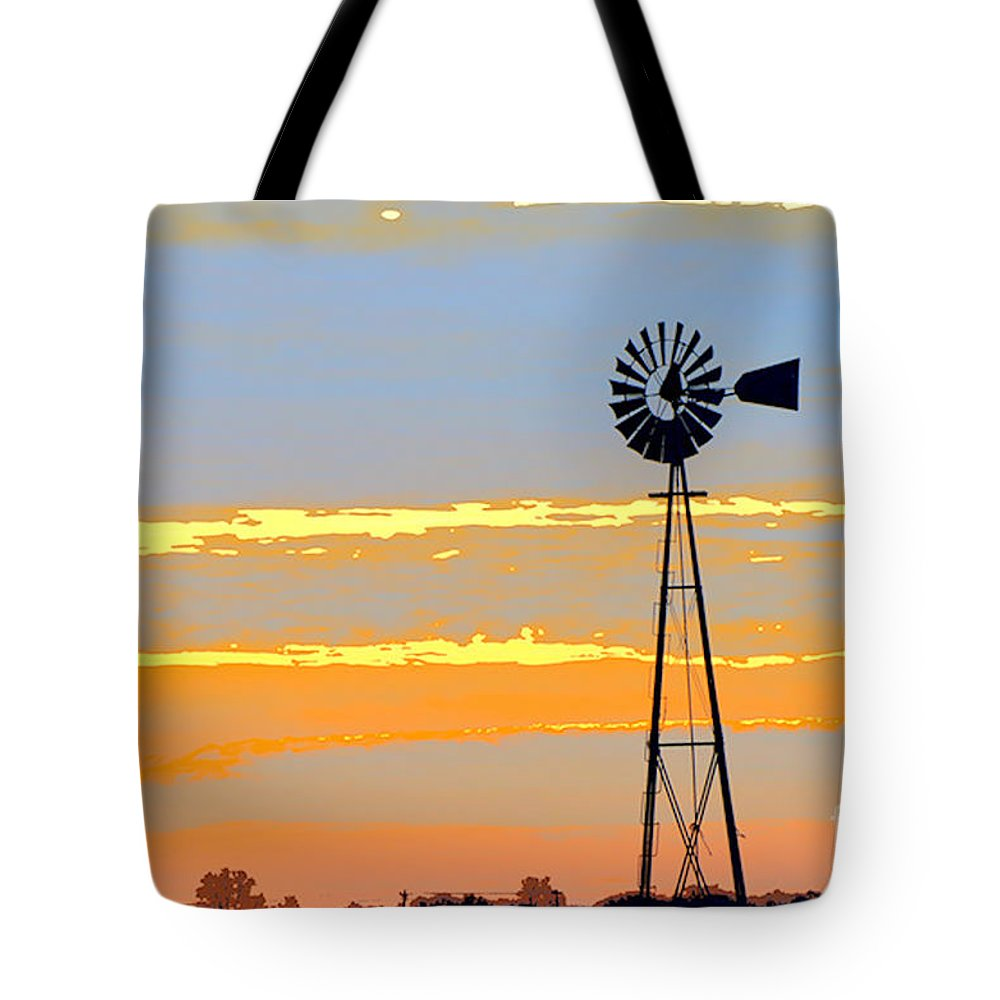 Windmill Tote Bag featuring the photograph Digital Windmill-horizontal by Gary Richards