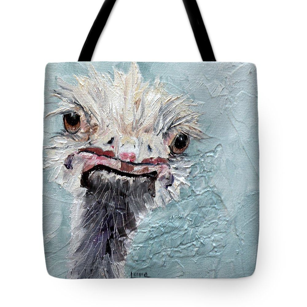 Ostrich Tote Bag featuring the painting Dimples - An Ostrich by Saundra Lane Galloway