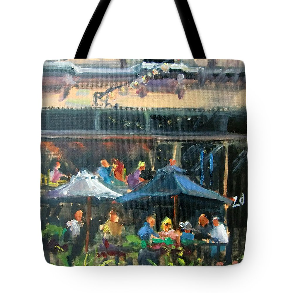 Dining Tote Bag featuring the painting Dine Out On 4th Street by Mitzi Lai