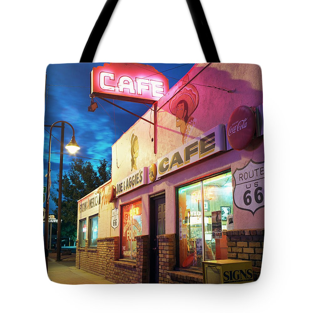 Shadow Tote Bag featuring the photograph Diner Along Route 66 At Dusk by Gary Yeowell