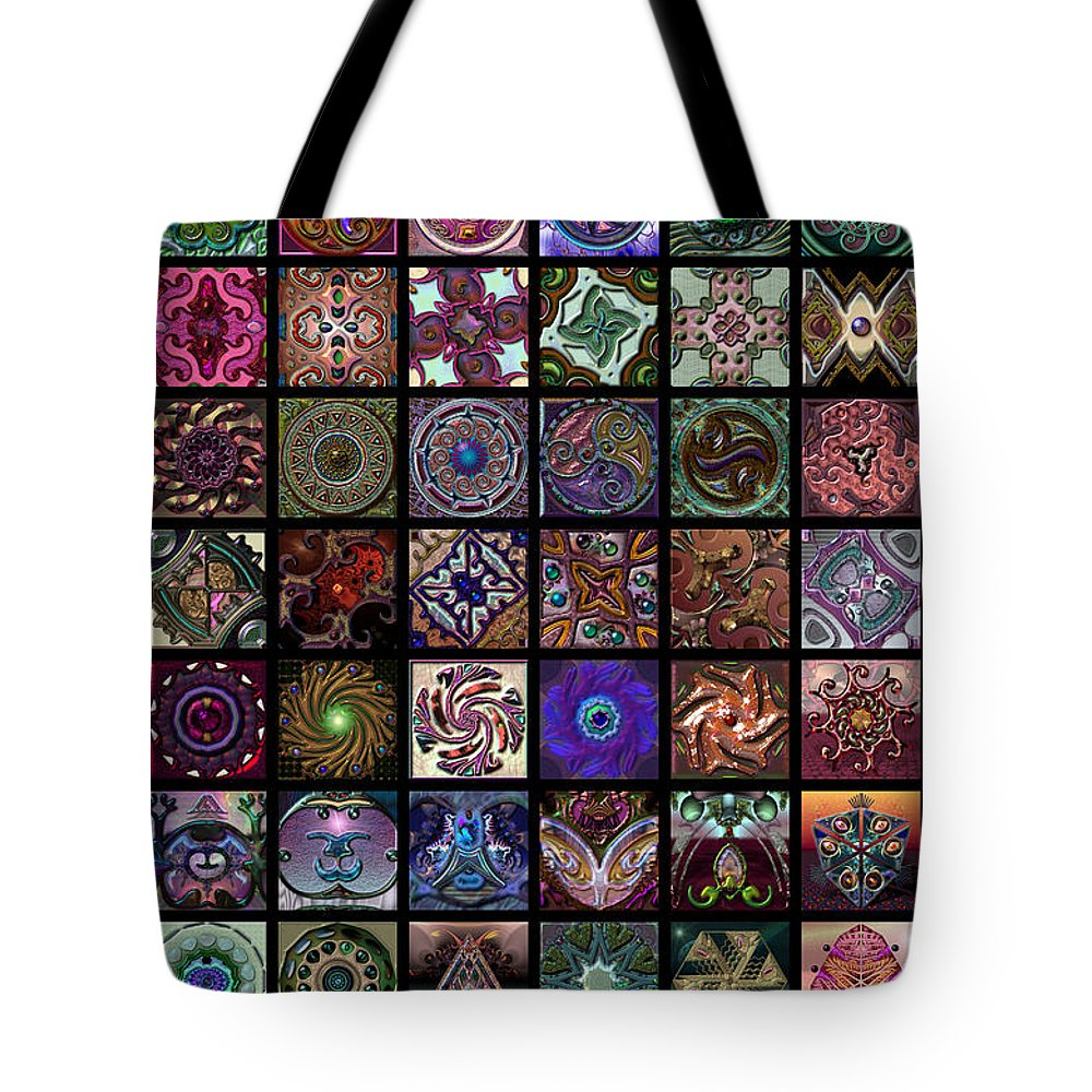 A Quilt And Collection Of 54 dingbat Images. These Are Fonts That I Sell At The Dingbatcave (dingbatcave.com). Each Little Quilt Square Is A Work Of Art In Itself Featuring One letter Or Icon From One Of My Many Fonts. Tote Bag featuring the digital art Dingbat Quilt by Ann Stretton