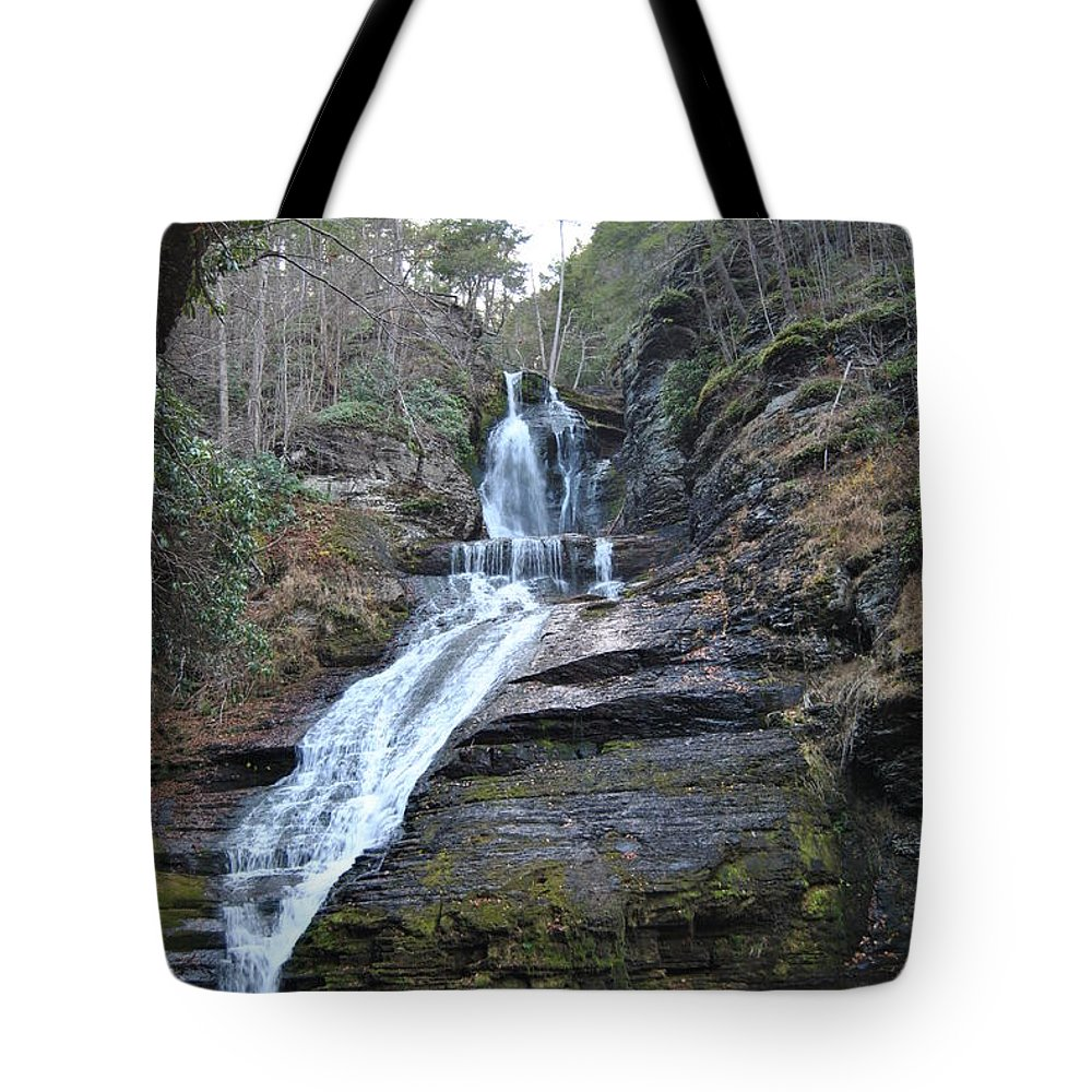 Waterfall Tote Bag featuring the photograph Dingman Falls by Christine Crowley