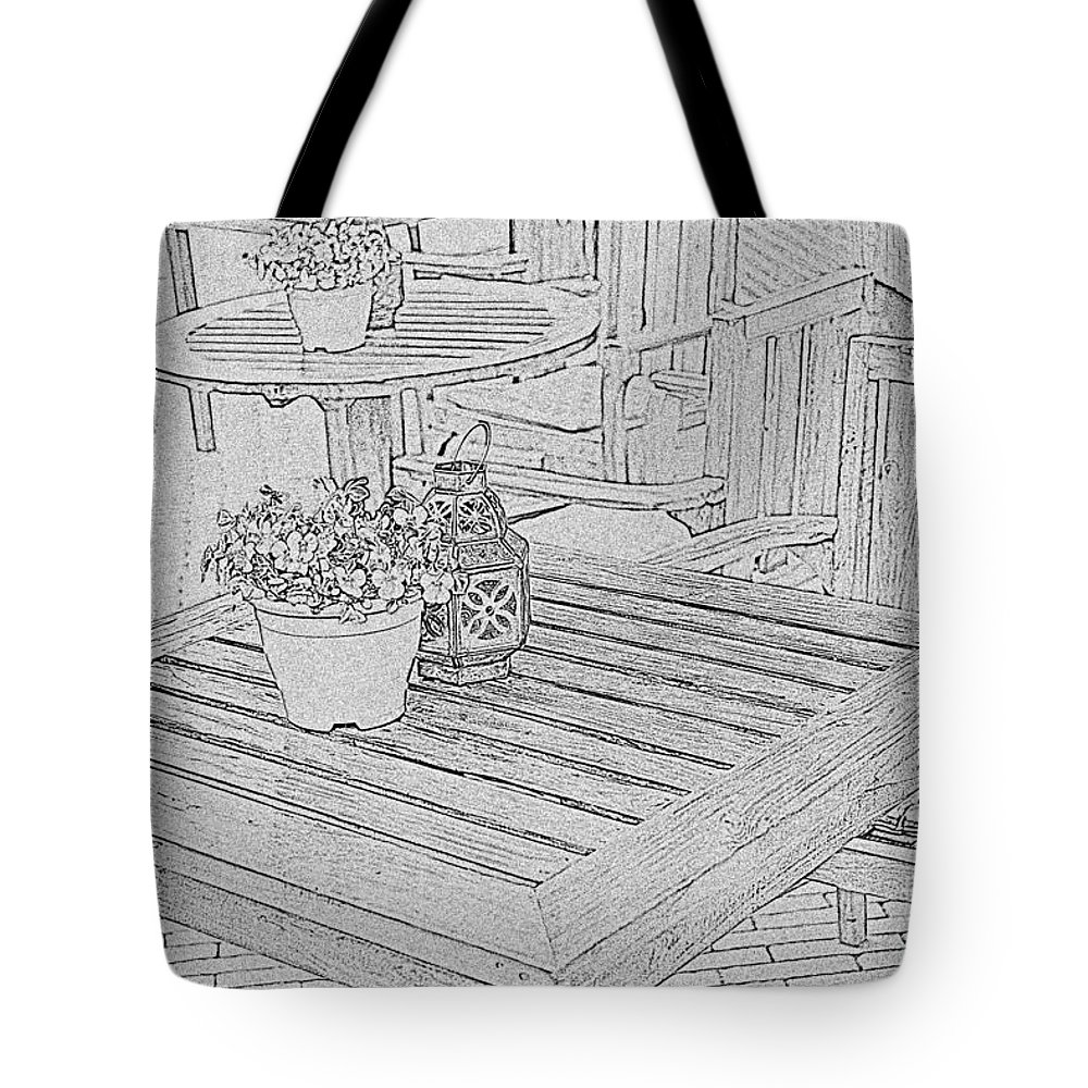 Table Tote Bag featuring the photograph Dining On The Street by Elvis Vaughn