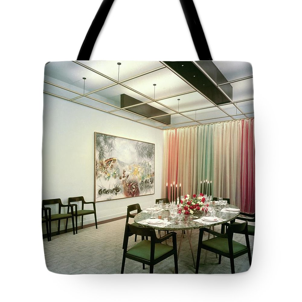 Dining Room Tote Bag featuring the photograph Dining Room In Mr. And Mrs. Williams A.m by Pedro E. Guerrero