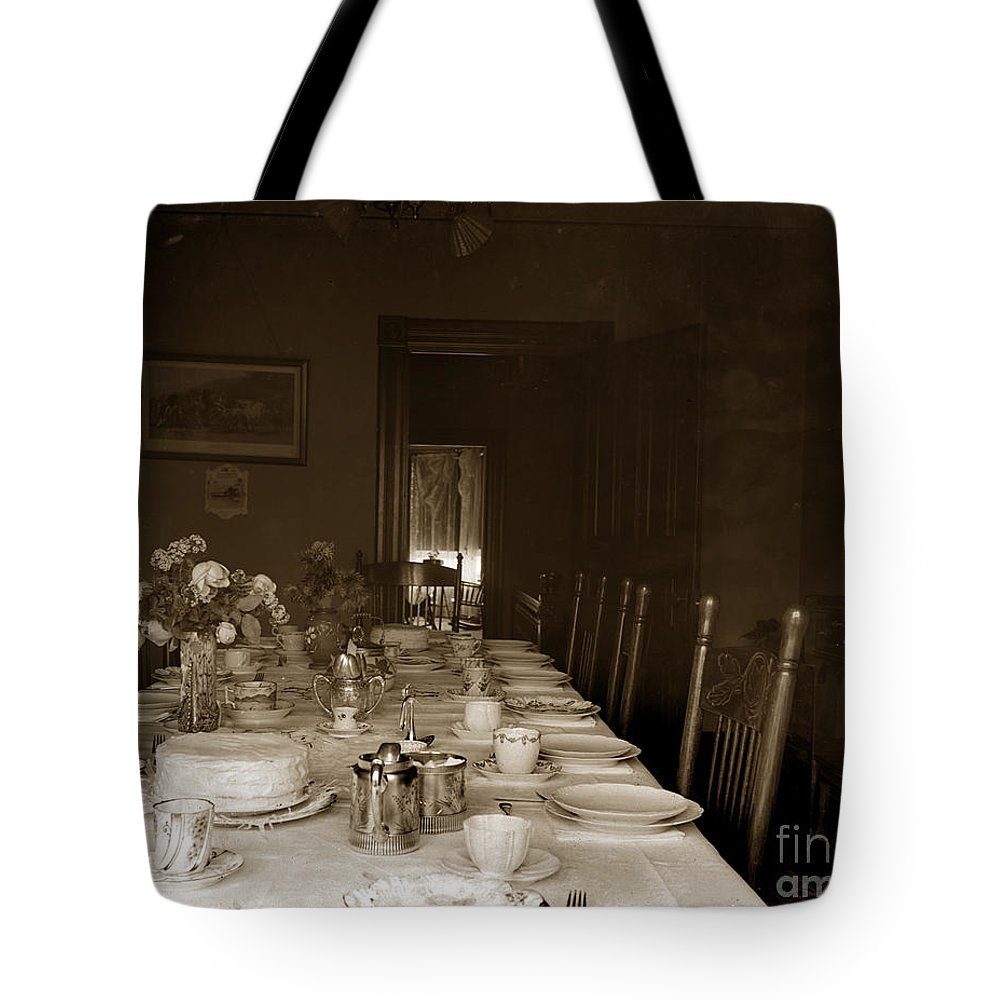 Dining Tote Bag featuring the photograph Dining Room Table Circa 1900 by California Views Archives Mr Pat Hathaway Archives