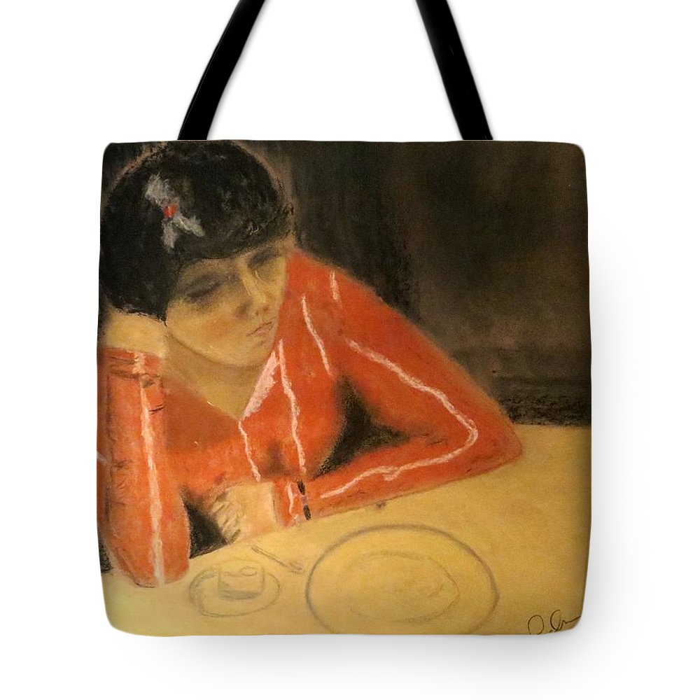 Female Tote Bag featuring the pastel Dinner For One by C Pichura