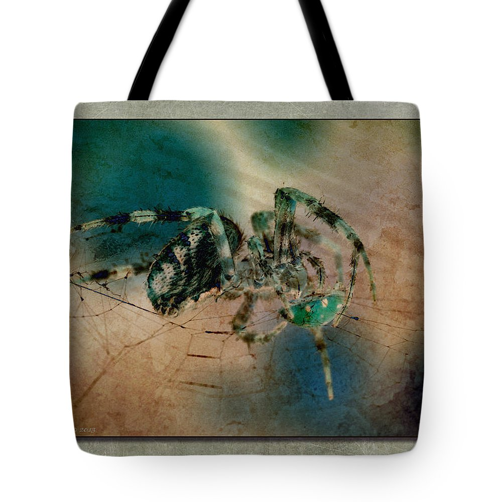Spider Tote Bag featuring the photograph Dinner On The Half Shell by WB Johnston
