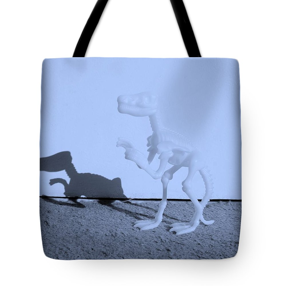 Dinosaur Tote Bag featuring the photograph Dino Cyan by Rob Hans