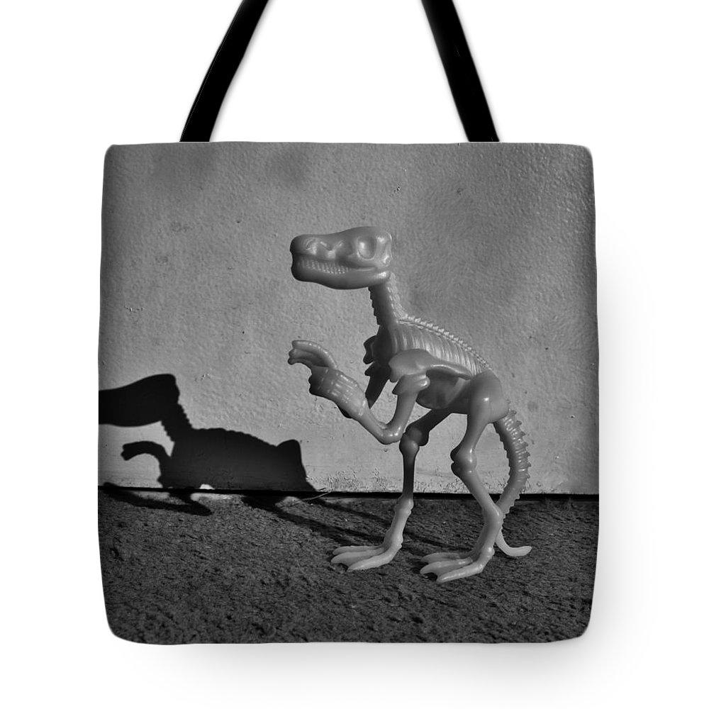 Dinosaur Tote Bag featuring the photograph Dino Dark B W by Rob Hans