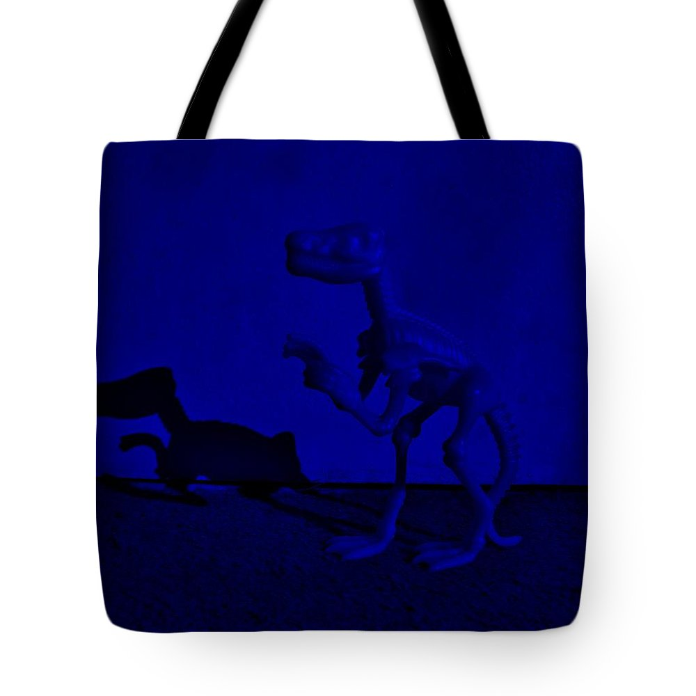 Dinosaur Tote Bag featuring the photograph Dino Dark Blue by Rob Hans