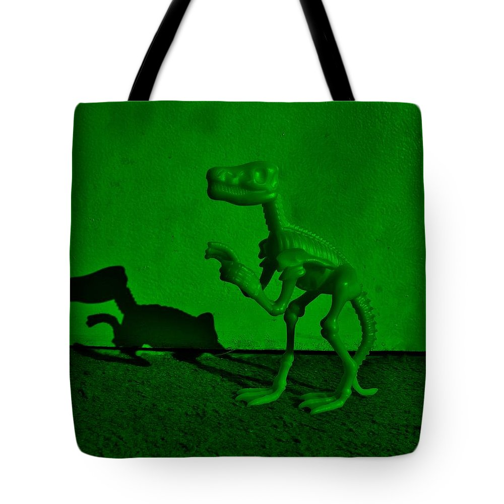 Dinosaur Tote Bag featuring the photograph Dino Dark Green by Rob Hans