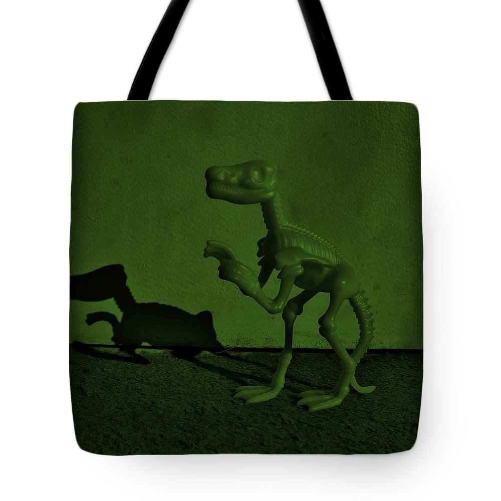 Dinosaur Tote Bag featuring the photograph Dino Dark Olive by Rob Hans