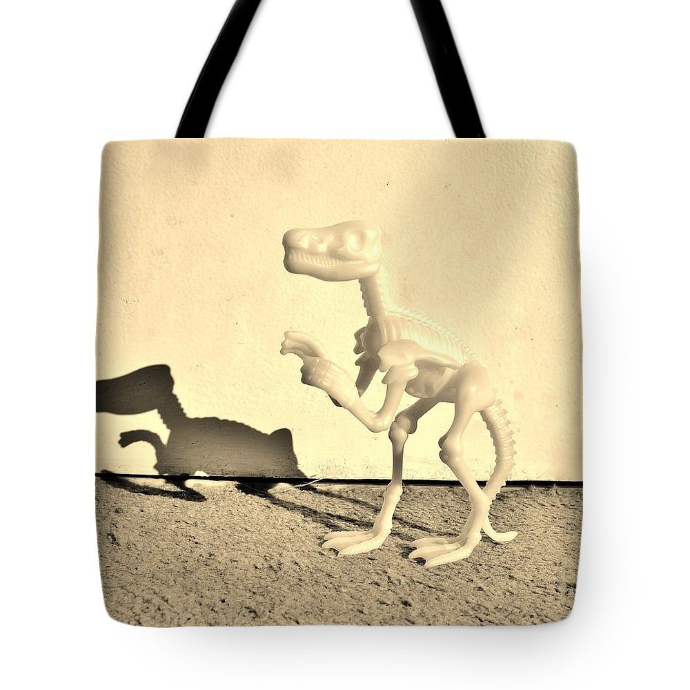 Dinosaur Tote Bag featuring the photograph Dino Dark Sepia by Rob Hans