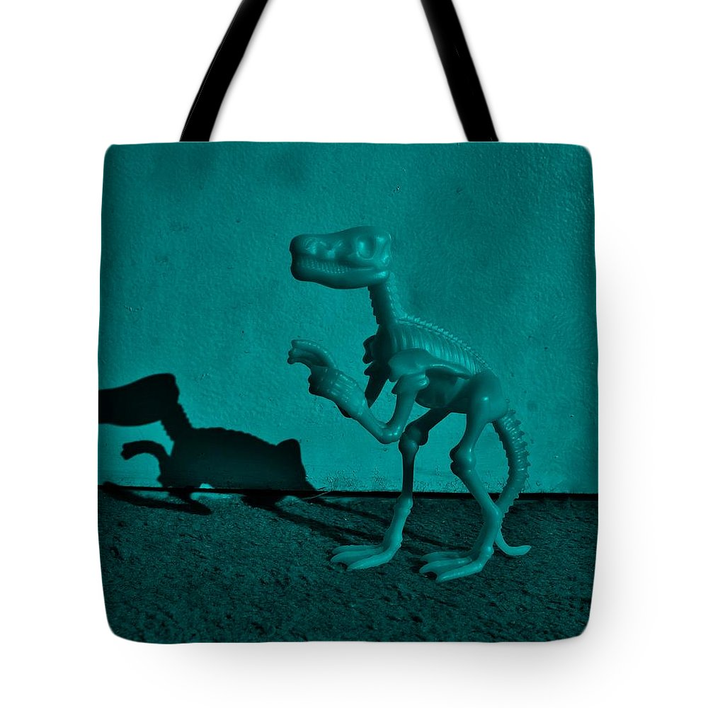 Dinosaur Tote Bag featuring the photograph Dino Dark Turquoise by Rob Hans