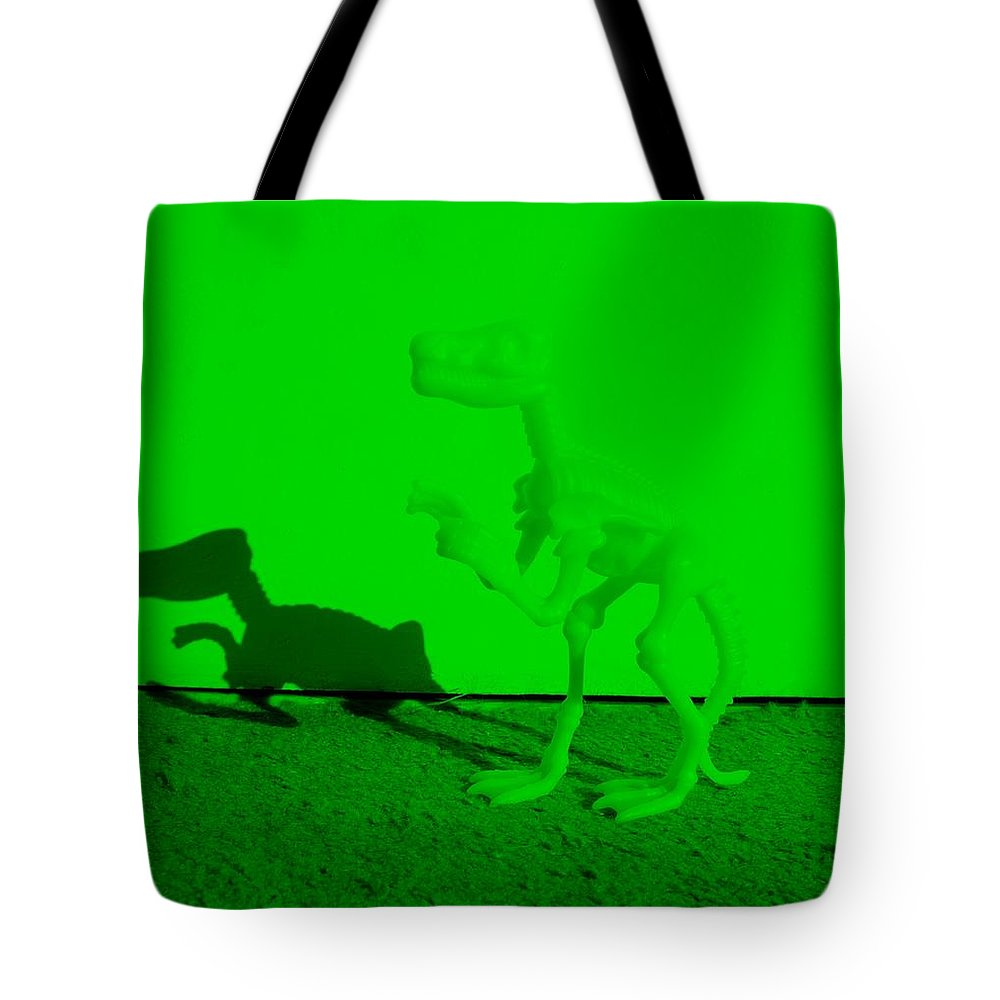 Dinosaur Tote Bag featuring the photograph Dino Green by Rob Hans