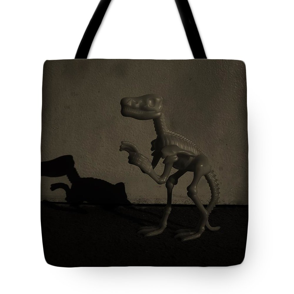 Dinosaur Tote Bag featuring the photograph Dino Monochrome by Rob Hans