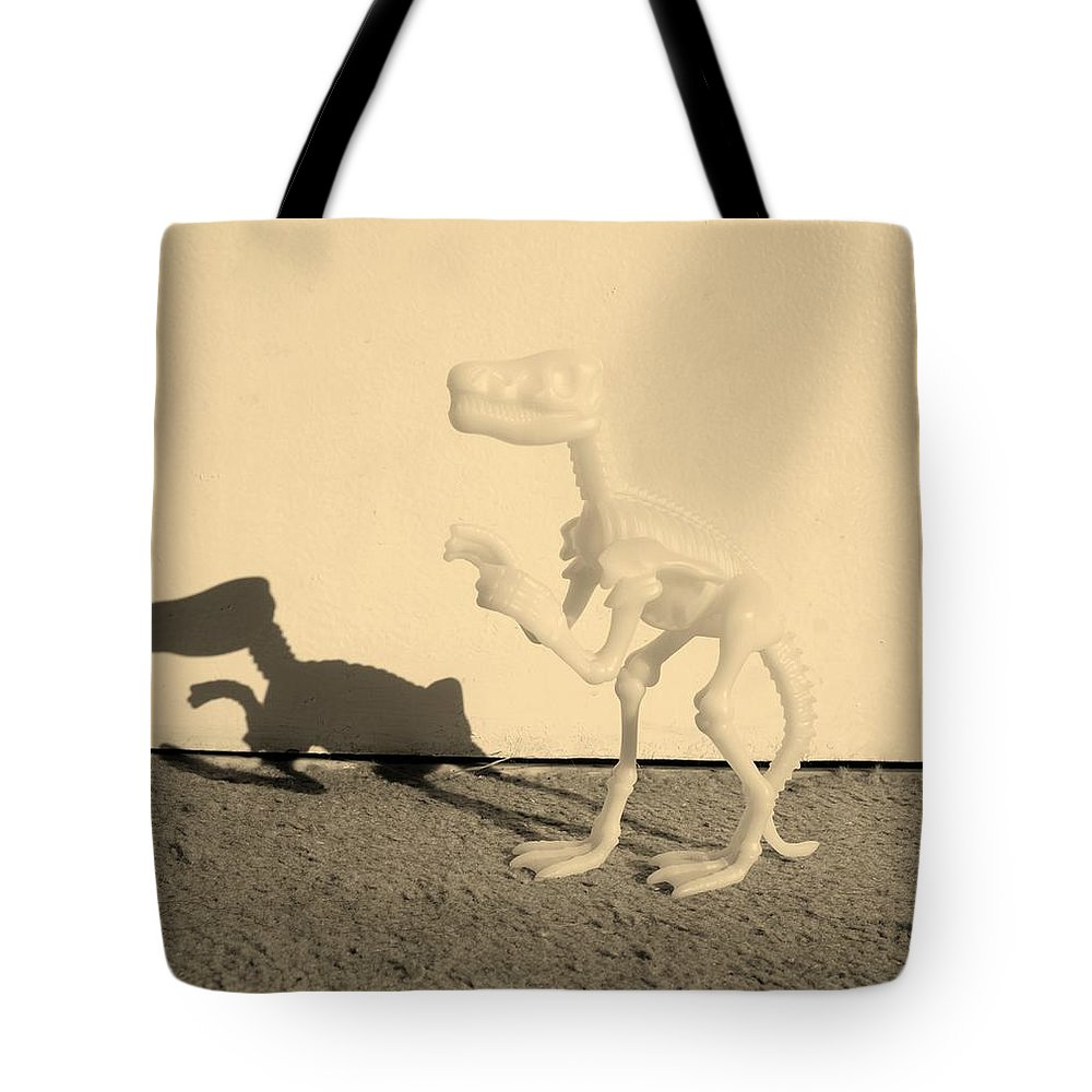 Dinosaur Tote Bag featuring the photograph Dino Sepia by Rob Hans