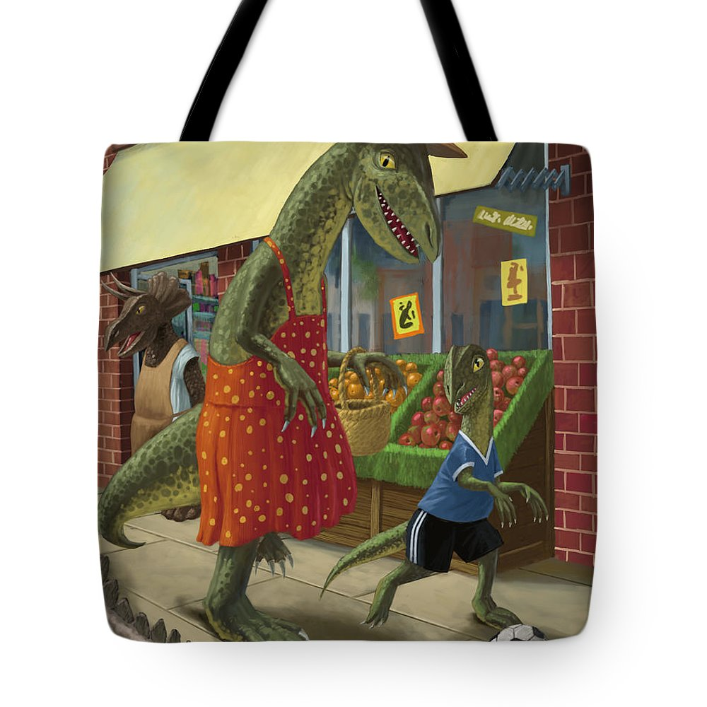 Dinosaur Tote Bag featuring the painting Dinosaur Mum Out Shopping With Son by Martin Davey