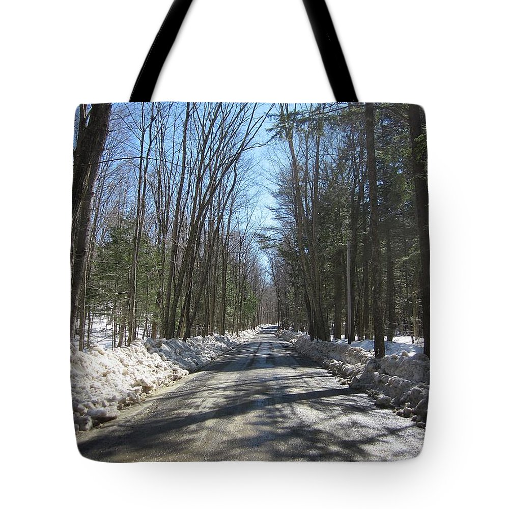 Trees Tote Bag featuring the photograph Dirt Road In March by MTBobbins Photography