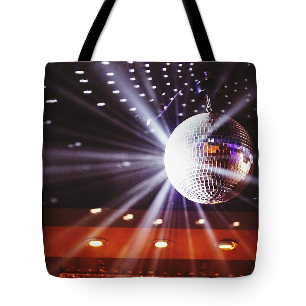 Hanging Tote Bag featuring the photograph Disco Ball At Illuminated Nightclub by Shaun Wang / Eyeem