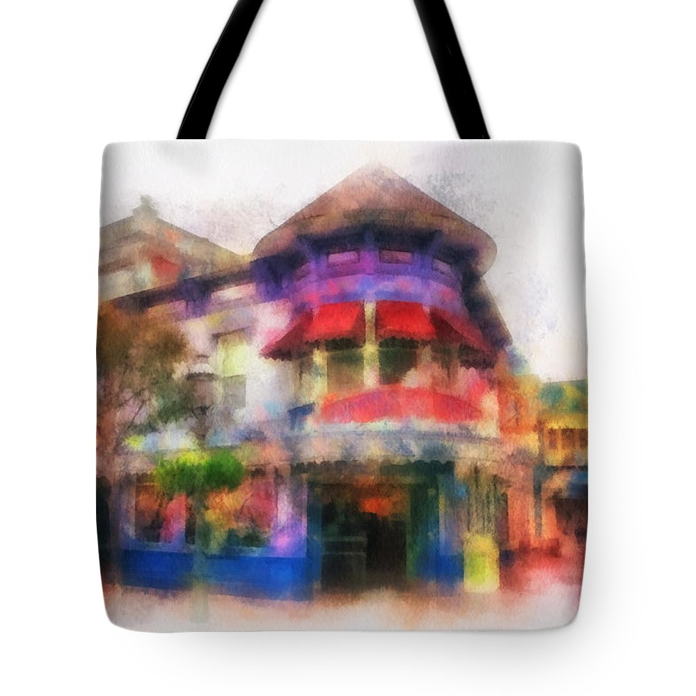Disney Tote Bag featuring the photograph Disney Clothiers Main Street Disneyland Photo Art 01 by Thomas Woolworth
