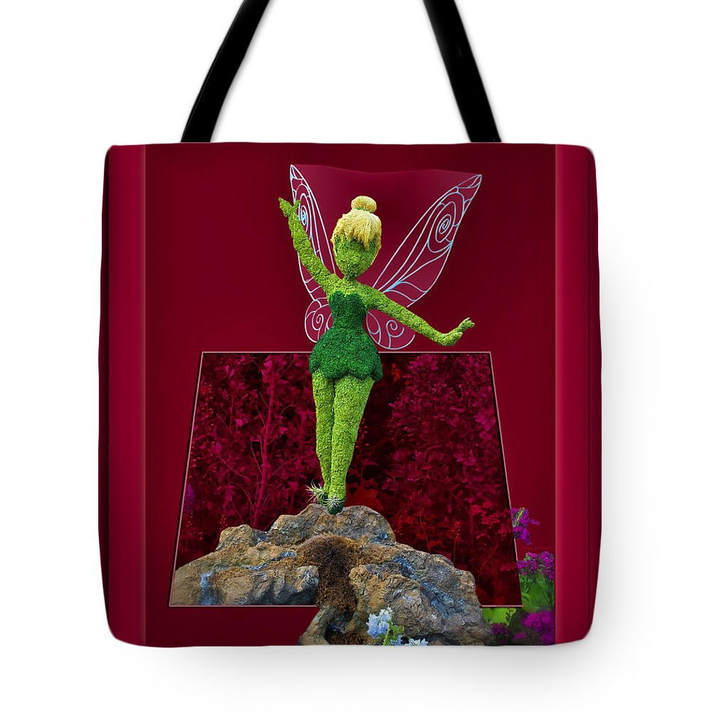 Tinker Bell Tote Bag featuring the digital art Disney Floral Tinker Bell 02 by Thomas Woolworth