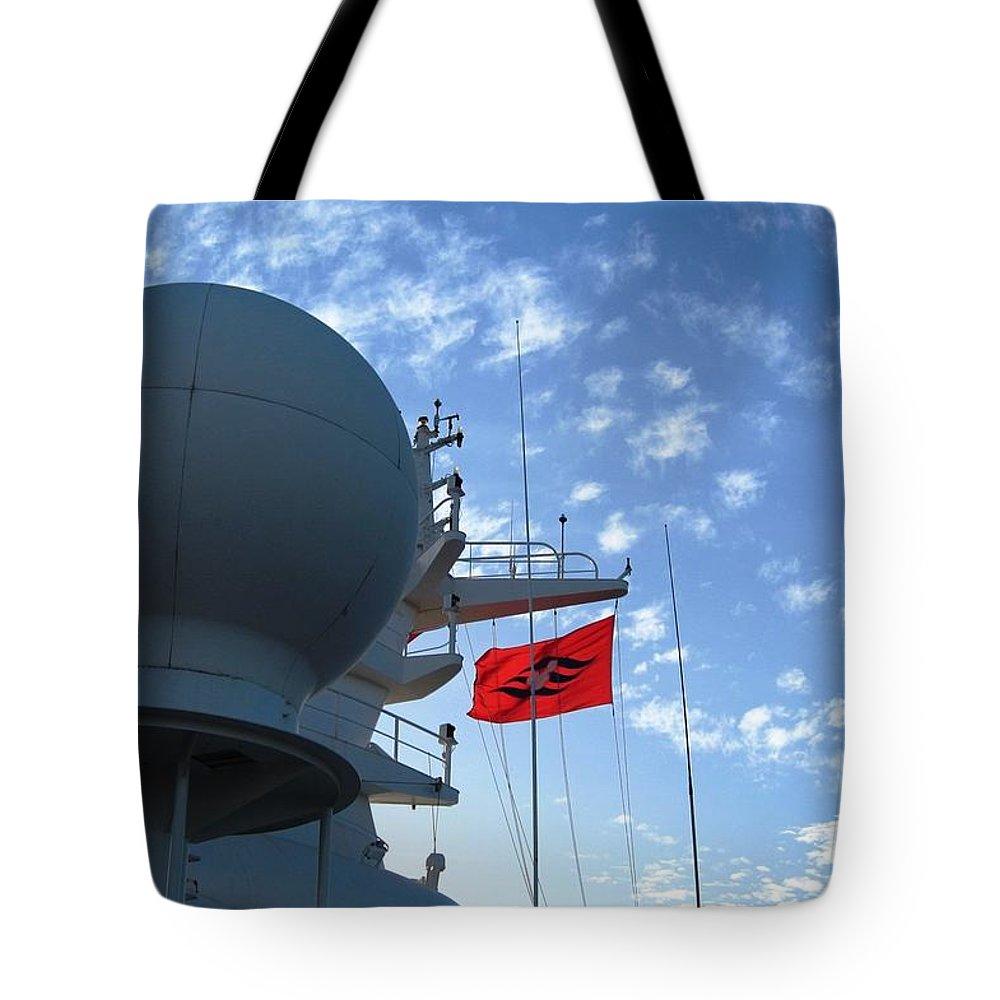 Cruise Ship Tote Bag featuring the photograph Disney Magic Flag 2 by Teresa Ruiz