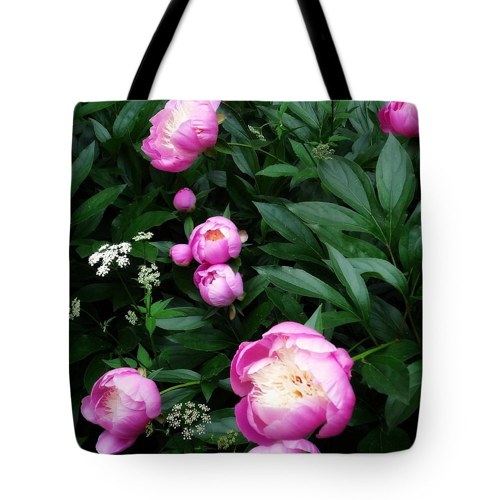 Peonies Tote Bag featuring the photograph Display Of Romance by Deborah Crew-Johnson