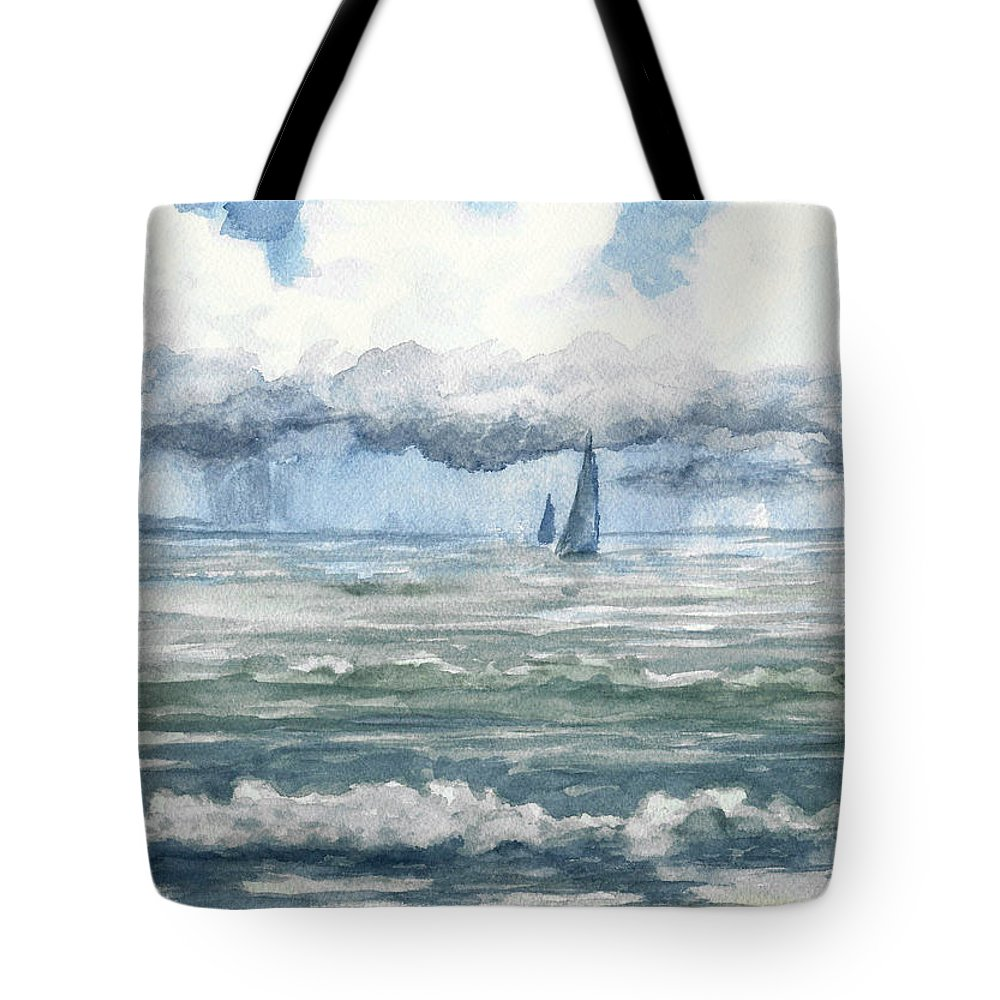 Sea Tote Bag featuring the painting Distant Rain by David G Paul