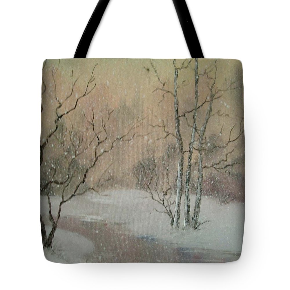 Winter Tote Bag featuring the painting Distant Spires by Suzette Broad