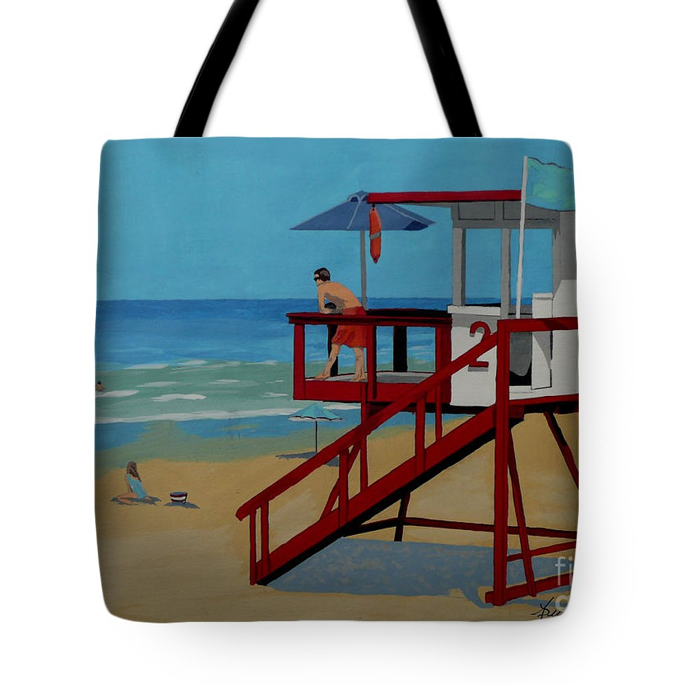 Lifeguard Tote Bag featuring the painting Distracted Lifeguard by Anthony Dunphy