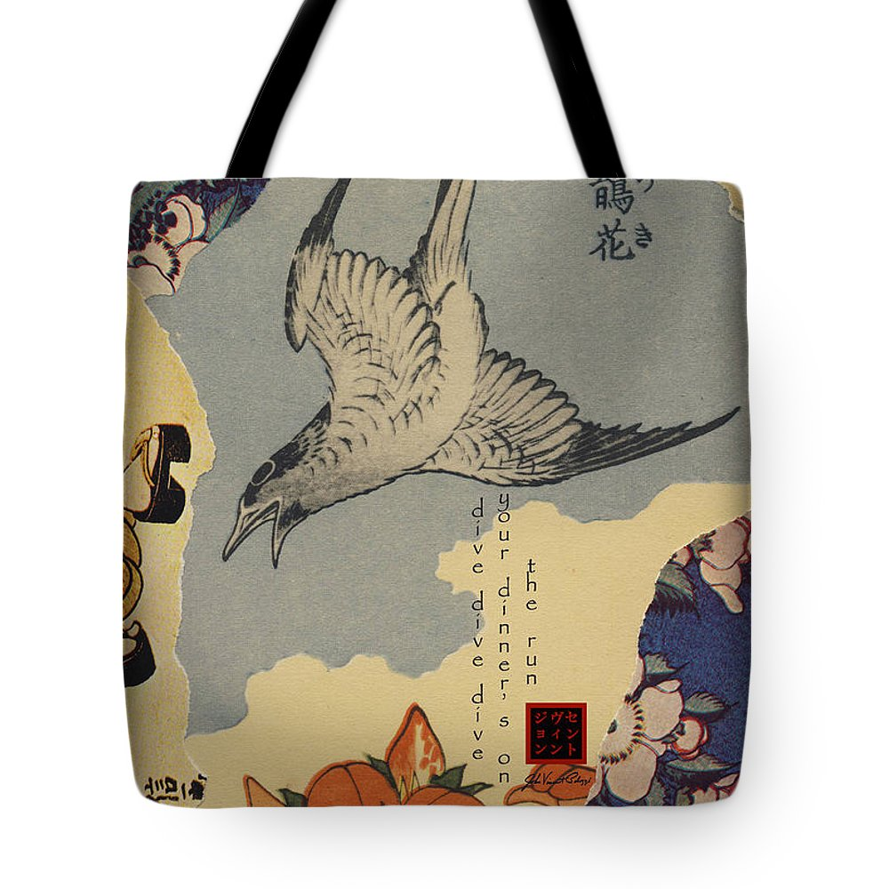 Collage Tote Bag featuring the digital art Dive by John Vincent Palozzi