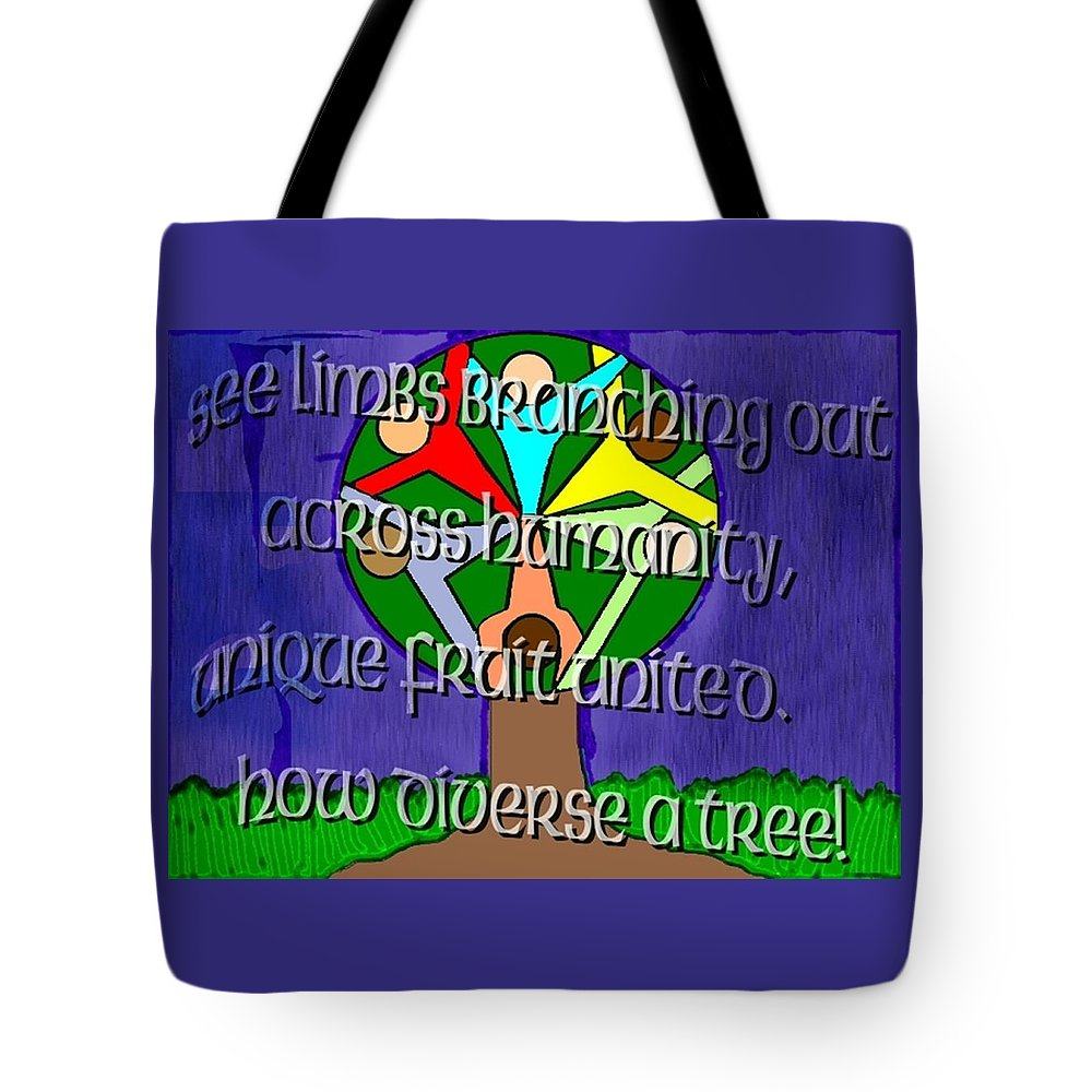 Diversity Tote Bag featuring the painting Diversity Tree by Pharris Art