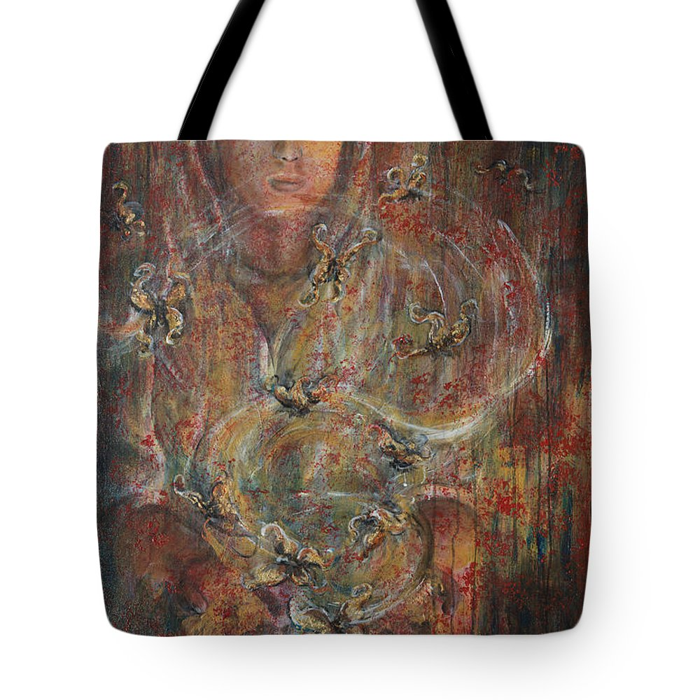 Divination Tote Bag featuring the painting Divination by Nik Helbig