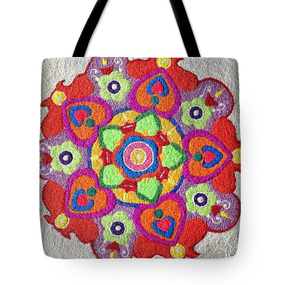 Rangoli Tote Bag featuring the mixed media Diwali Rangoli Made With Coloured Rice by Asha Aditi Ruparelia