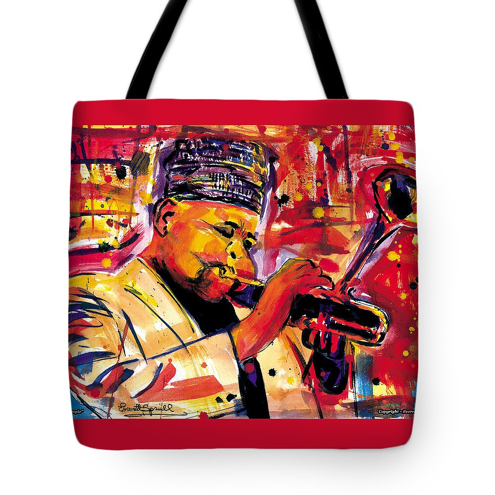 Dizzy Gillespie Tote Bag featuring the painting Dizzy Gillespie by Everett Spruill