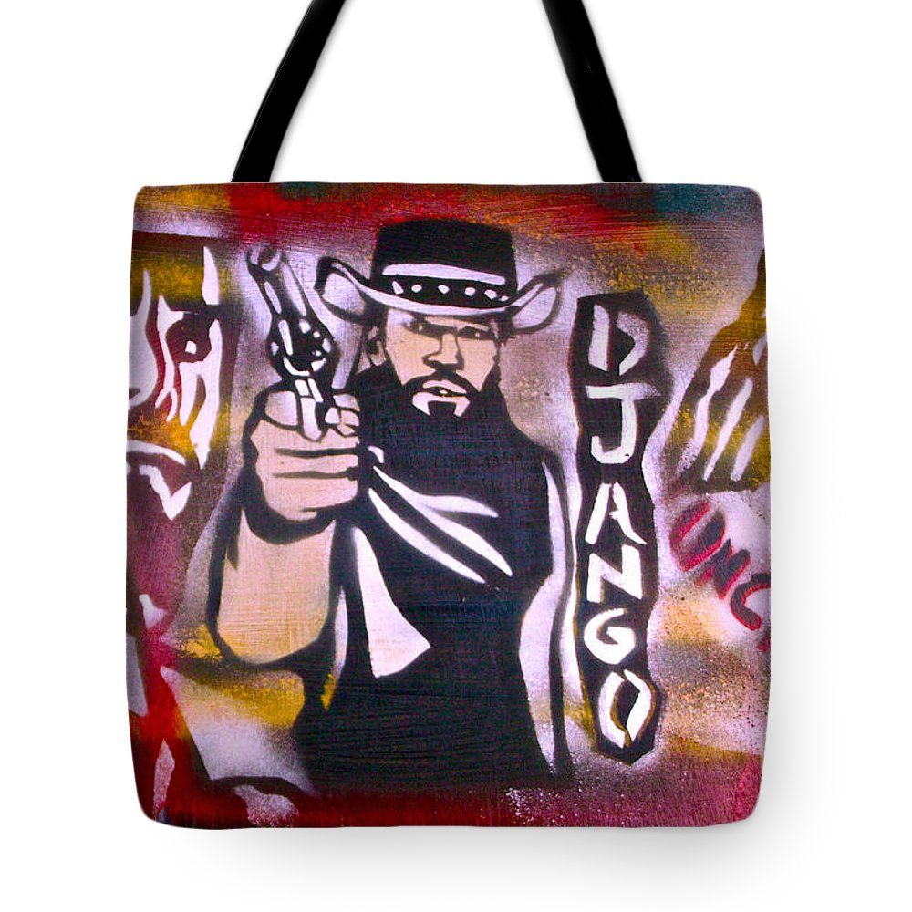 Hip Hop Tote Bag featuring the painting Django Blood Red by Tony B Conscious