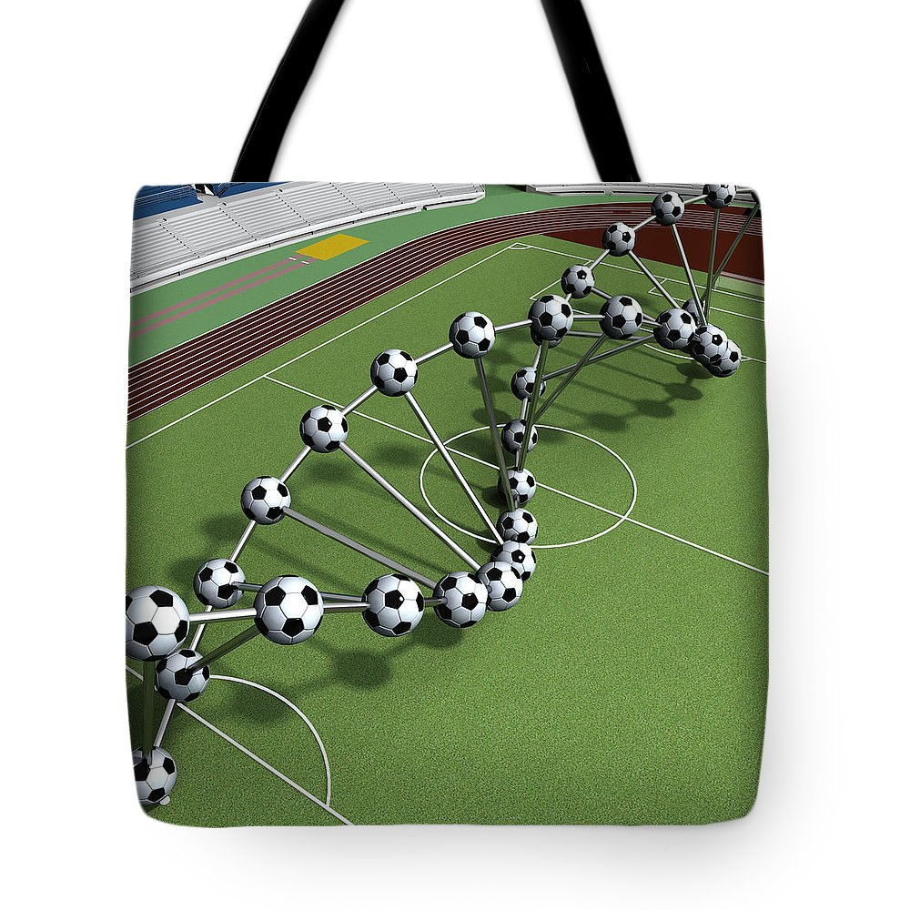 Sport Tote Bag featuring the digital art Dna String Of Soccer Player On The Field Of Stadium by Nenad Cerovic