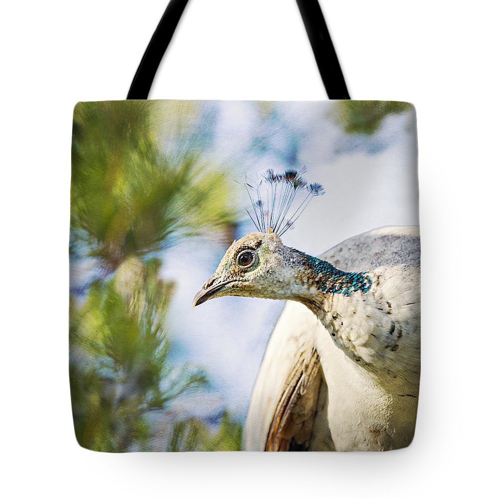 Peacock Tote Bag featuring the photograph Do I Fit In Well by Angela Stanton