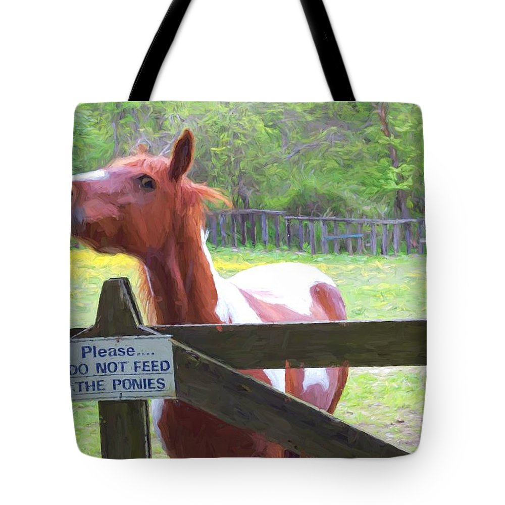 Horse Tote Bag featuring the photograph Do Not Feed by Alice Gipson