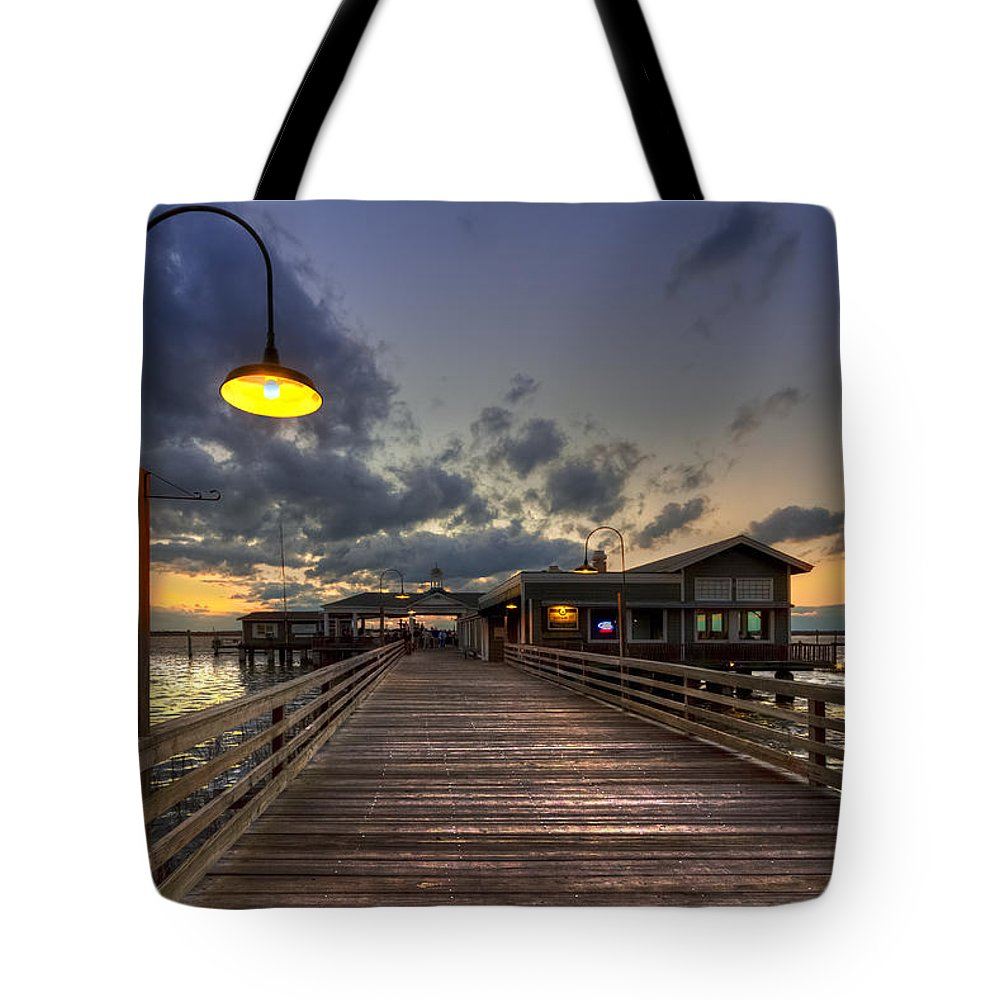 Boats Tote Bag featuring the photograph Dock Lights At Jekyll Island by Debra and Dave Vanderlaan