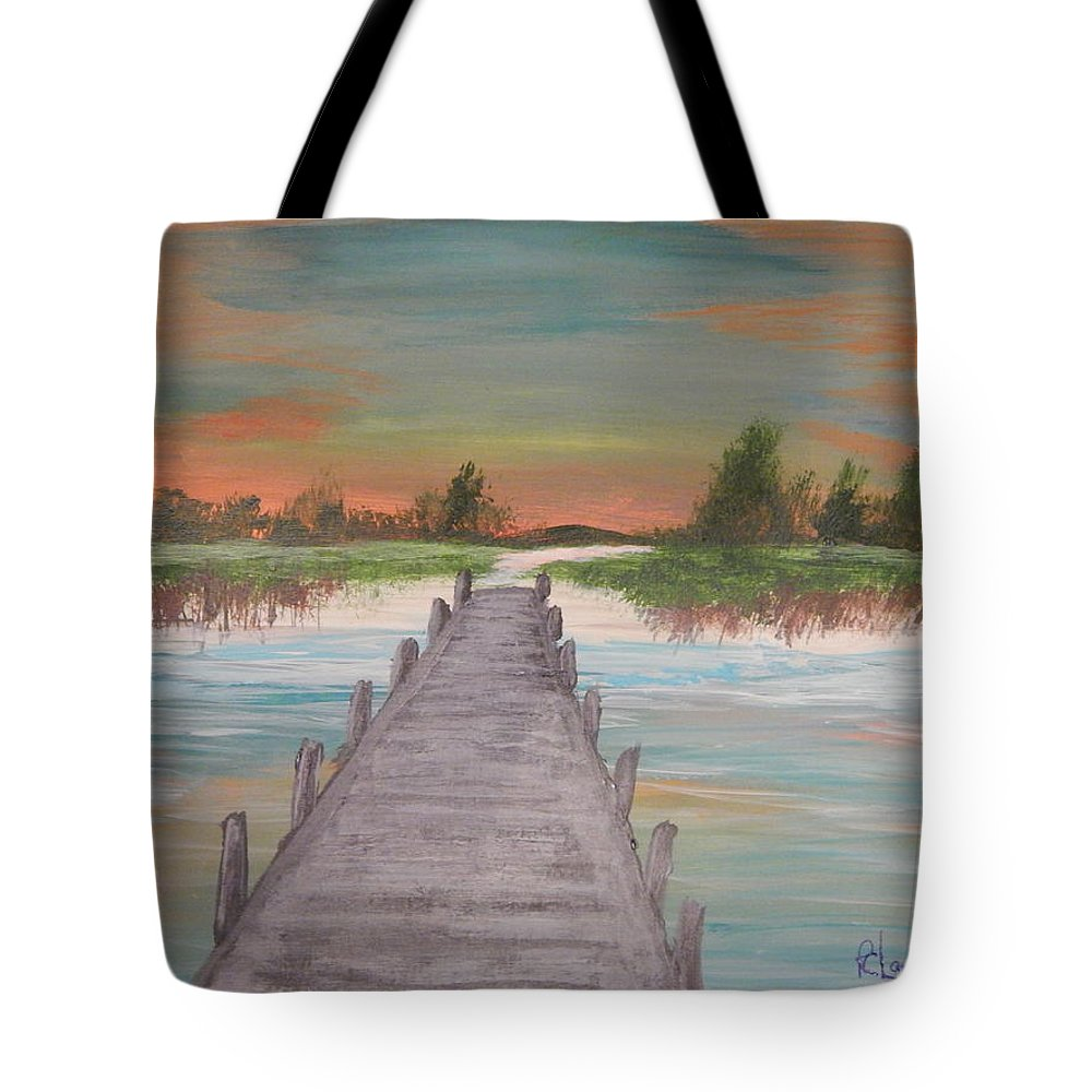 Seashore Art Tote Bag featuring the painting Dock Of The Bay by Robert Clark