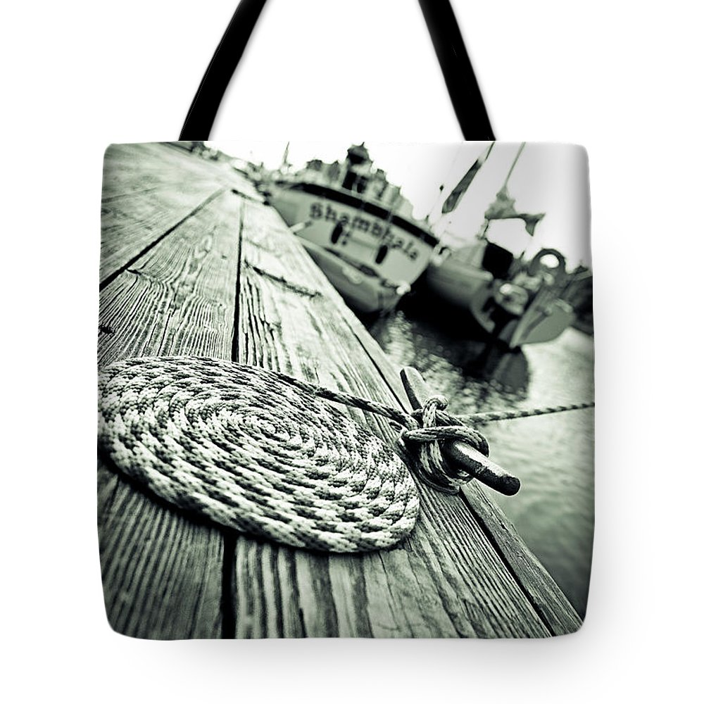Nautical Tote Bag featuring the photograph Docked by Sennie Pierson