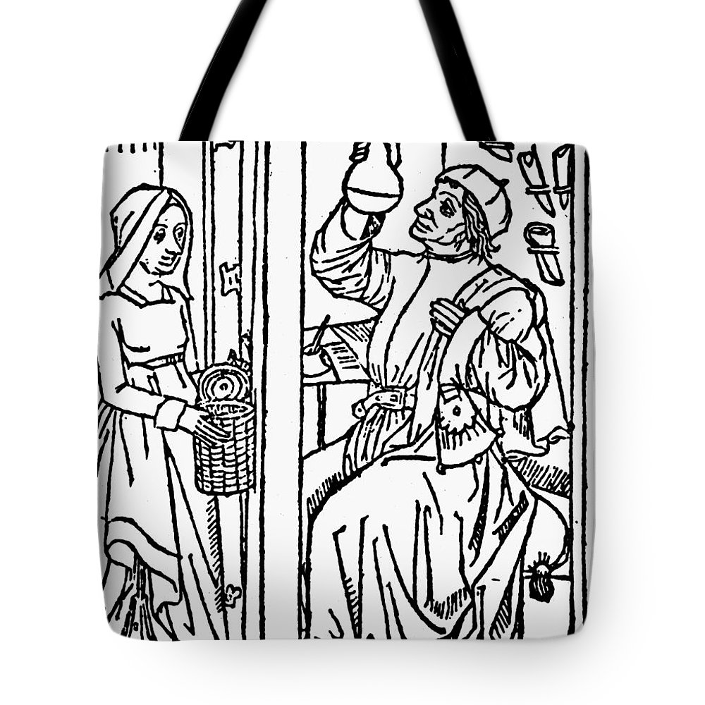 1488 Tote Bag featuring the photograph Doctor & Patient, 1488-89 by Granger