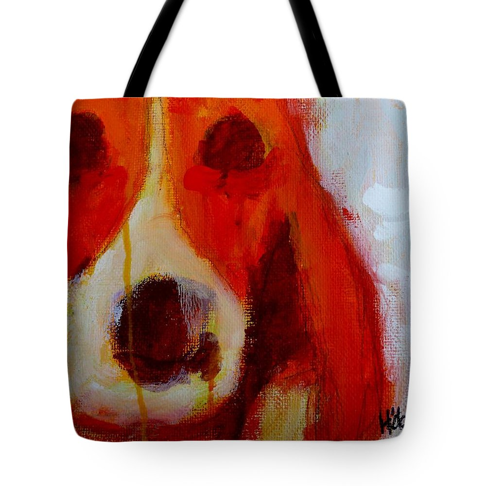 Dog Animal Portrait Painting Beagle Acrylic Tote Bag featuring the painting Dog 2 by Daniel Hoglund